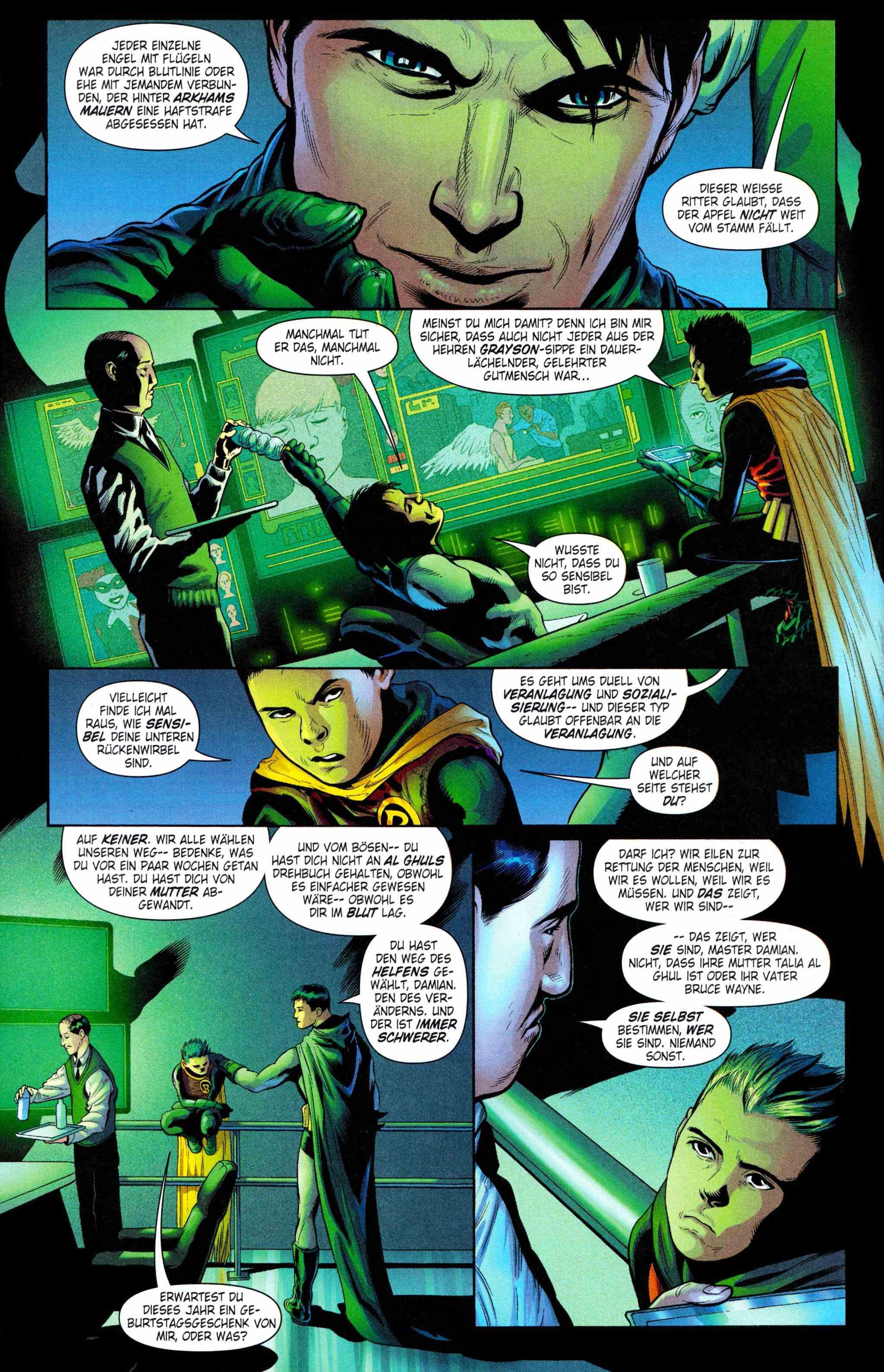 Batman-Comic-Seite, Batman und Robin diskutieren über Veranlagung und freien Willen