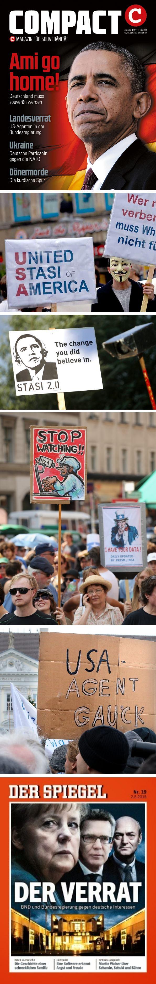 Sammlung antiamerikanischer Plakate und Zeitschriftenmotive zum Thema Überwachung